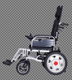 걷지 못하는 노인 환자를 위한 전동 전동 휠체어. 노인 여성 남자는 집 병원 밖에 나가 장애인으로서 무료 야외 여행을 합니다. 클리핑 패스 흰색 배경