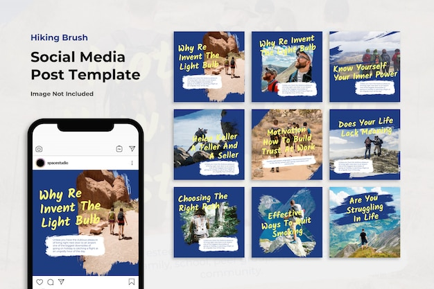 Mountain travel brush instagram post collection set