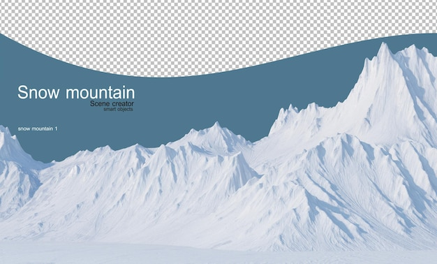 Mountains of various shapes in the snowy winter