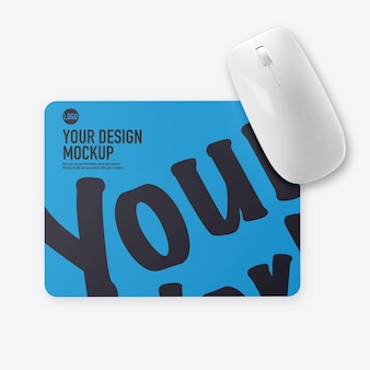 Mouse pad mockup with mouse isolated