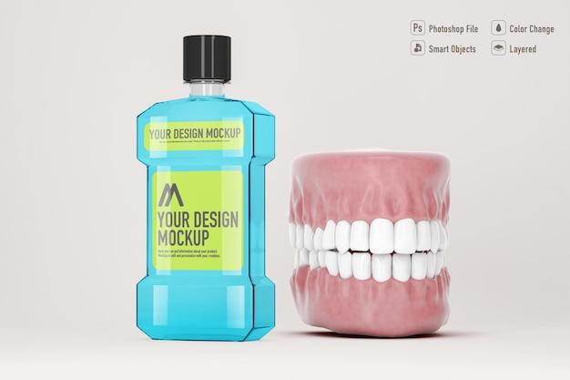 Mouthwash mockup isolated on soft color background; 3d; 3d illustration