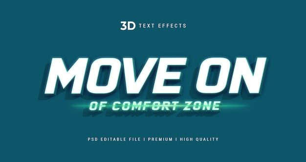 Move on of comfort zone 3d text style effect template