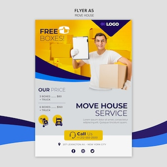 Move house business flyer template