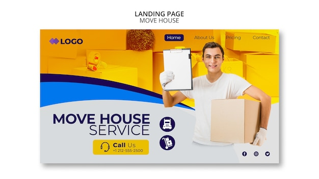 家のビジネステンプレートのランディングページを移動する