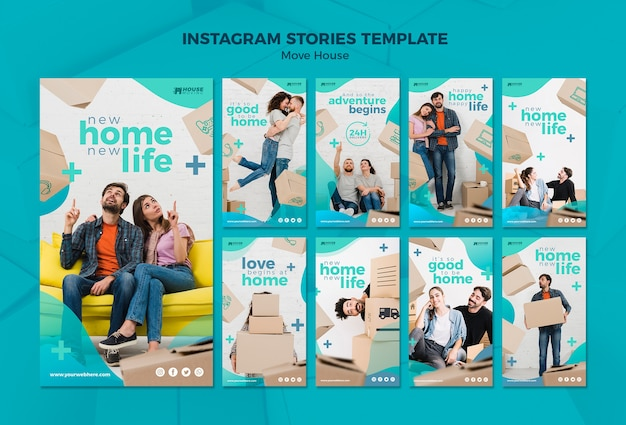Move house concept instagram stories template