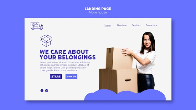 Move house landing page template theme