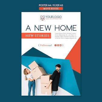 Spostare il concetto di modello di poster di casa Psd Gratuite