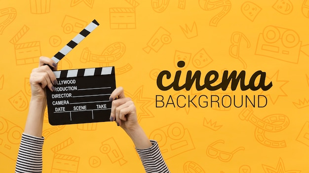 Movie clapper board cinema background