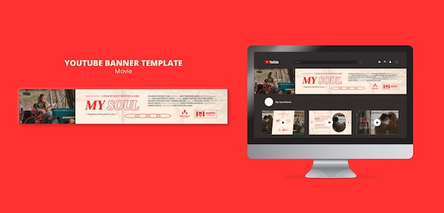 Movie entertainment youtube banner template