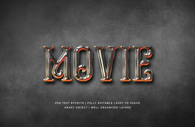 Movie gothic 3d text style effect template