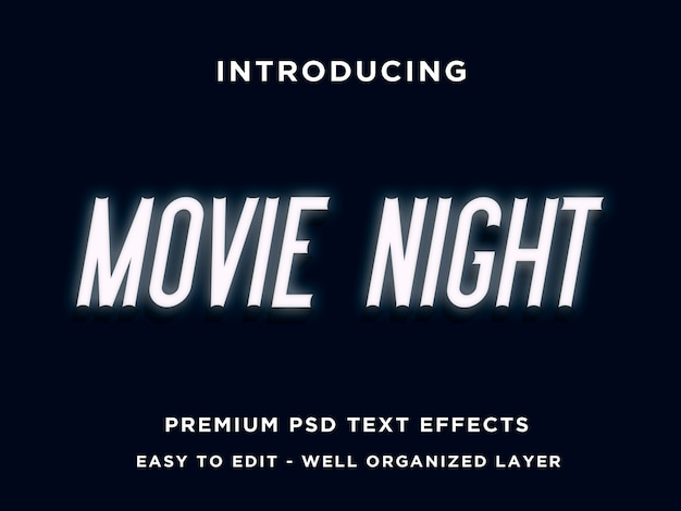 Movie night  text effect