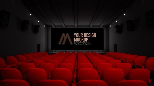 映画館内の映画スクリーンのモックアップ