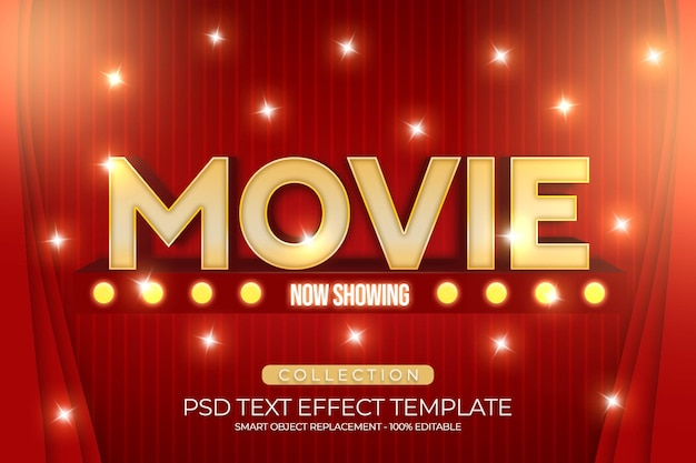 Movie text effect 3d template shiny with curtains red color editbale fully Premium Psd