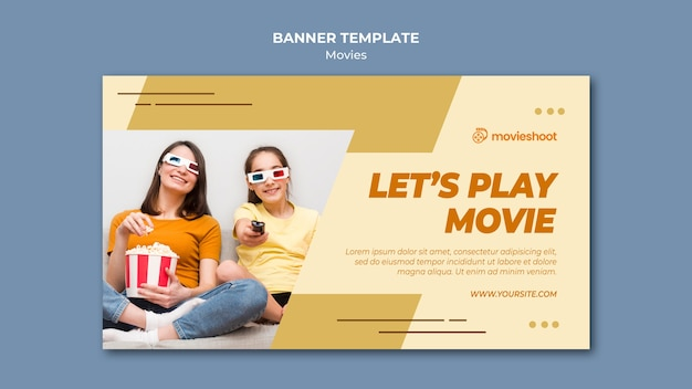 Movie time banner template with photo