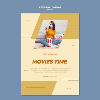 Movie time flyer template with photo