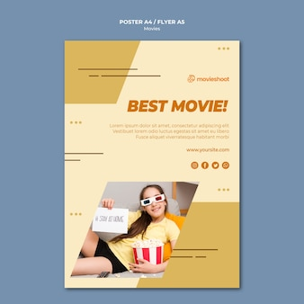 Movie time poster template with photo