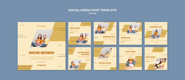Movie time social media posts template