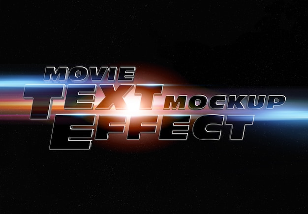 Movie trailer text effect mockup