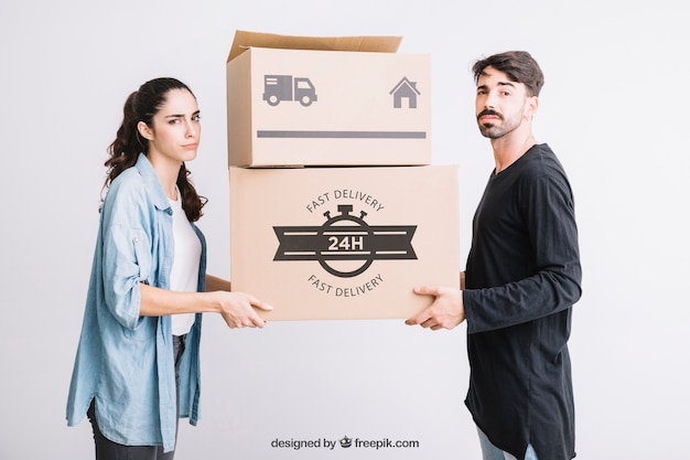 Moving concept mockup with couple