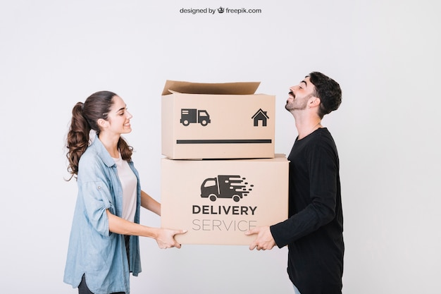 Moving concept mockup with two friends
