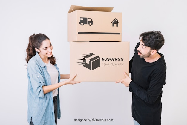 Moving concept mockup with young couple