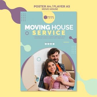 Trasloco poster di servizio casa con coppia