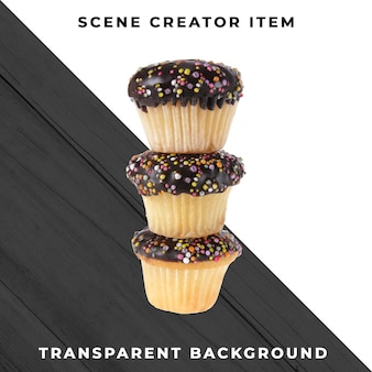 Muffin object on transparent psd