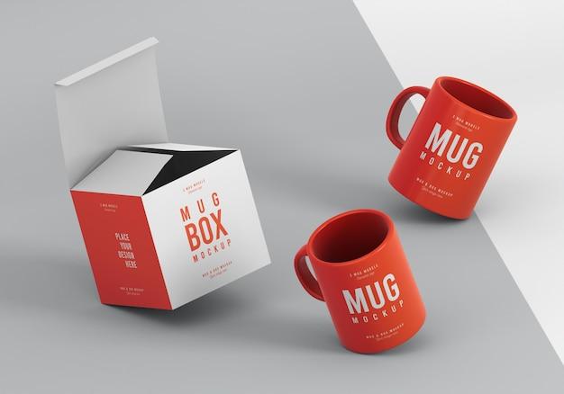Assortimento mock-up di mug box Psd Gratuite