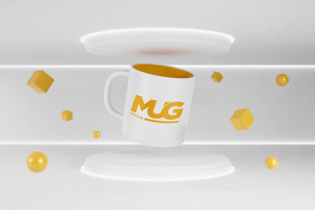 Mug mockup on mini podium with neon light