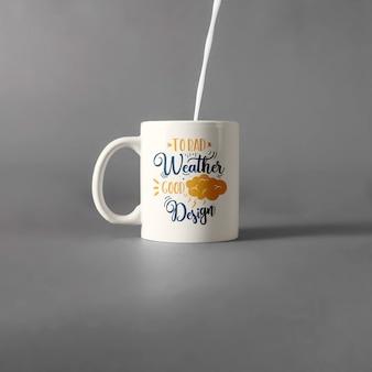 Mug mockup with milk
