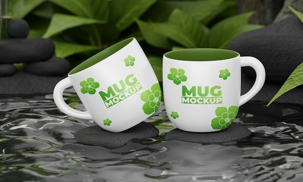 Mug mockup with nature concept