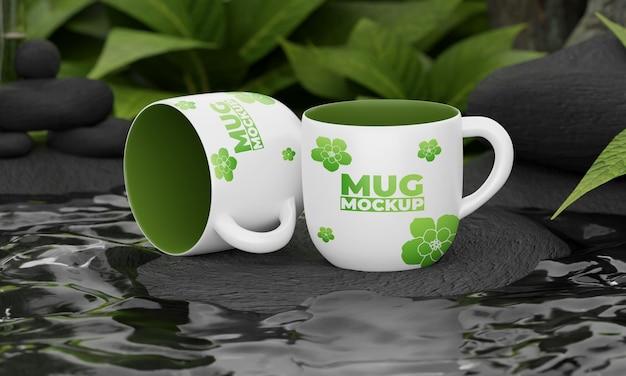 自然をコンセプトにしたマグカップのモックアップ