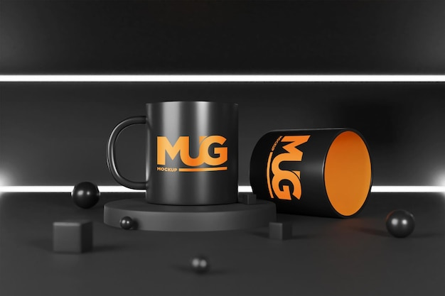 Mug mokcup on mini podium with neon light