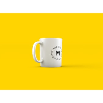 Mug on yellow background mock up