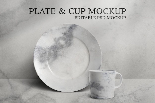 Mug and plate mockup psd set in minimal style