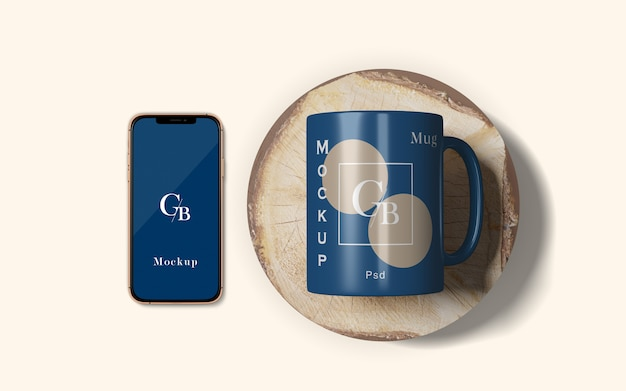 Mug and smart phone mockup top angle