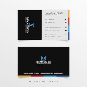 Multi color shape business card  template