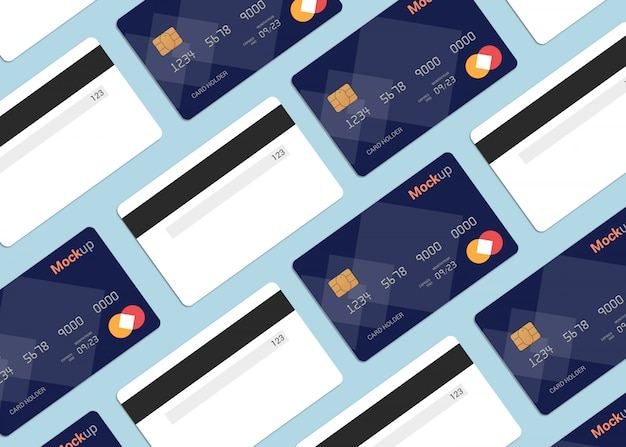 Multi debit card, credit card, smart card mockup template