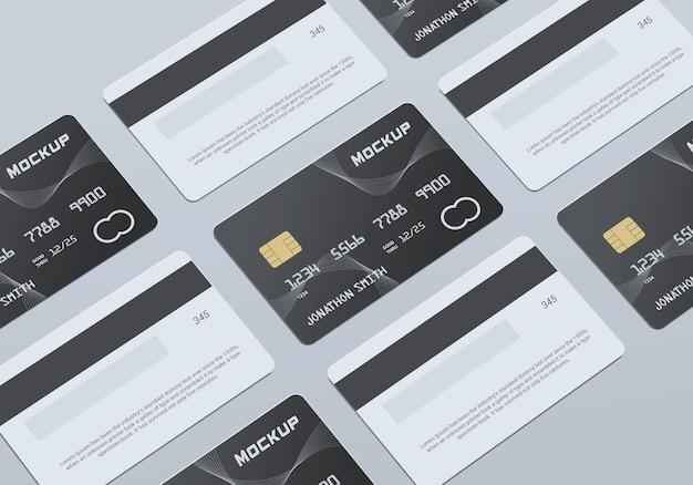 Multi debit card plastic card mockup design
