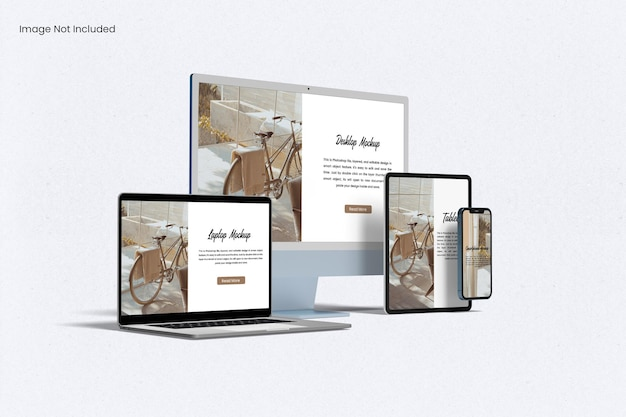 マルチデバイスレスポンシブウェブサイト画面モックアップ
