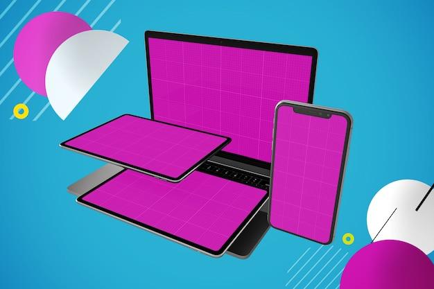 マルチデバイスモックアップ:ラップトップコンピューター、デジタルタブレット、スマートフォン