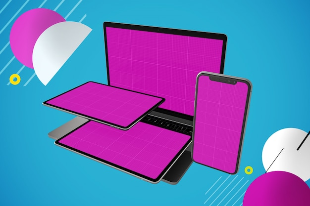 Multi devices mockup: laptop computer, digital tablet and smartphone