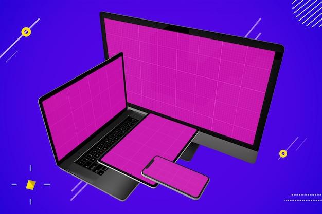 멀티 디바이스 모형 : 노트북, 데스크탑 컴퓨터, 디지털 태블릿 및 스마트 폰