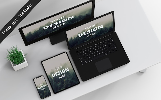 Multi devices mockup top left view