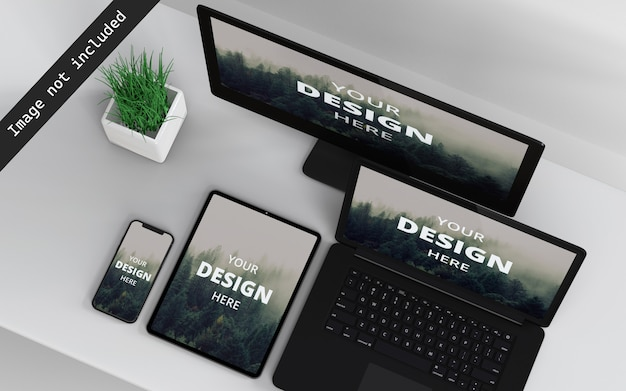 Multi devices mockup top right view