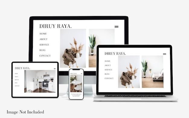 Multi devices responsive website mockup