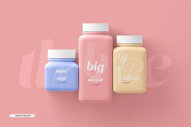 Мокап бутылки для пищевых добавок с квадратными таблетками разного размера