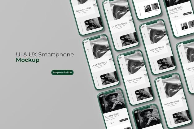 Multi smartphone mockup for design in 3d rendering
