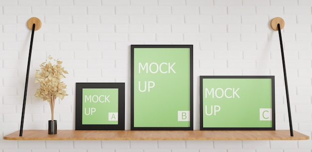 Multiple black frame size for mockup on the mounted table