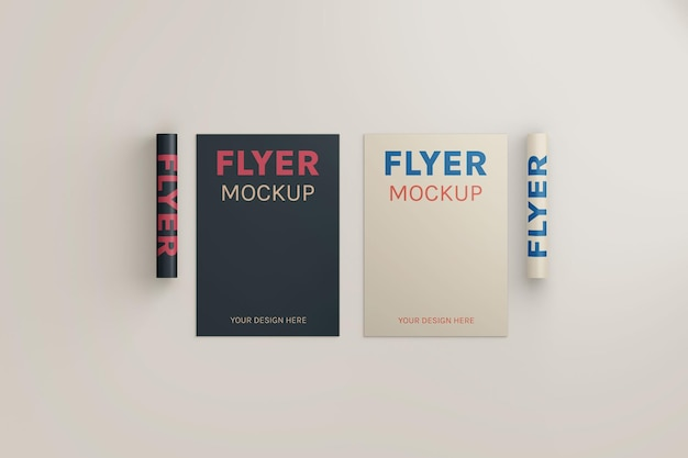 Multiple flyer mockup top angle view